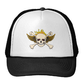 Skull and Wings with Crossbones and Fire Cap