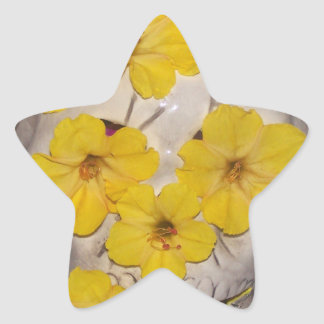 Skull and Yellow Flowers Star Sticker