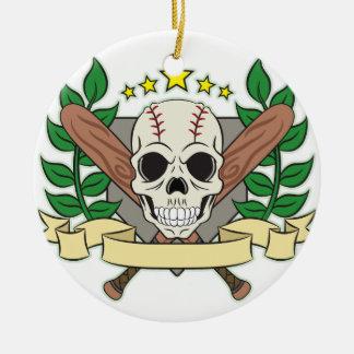 Skull Baseball Emblem Laurel Shield Christmas Ornament
