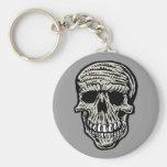 skull basic round button key ring