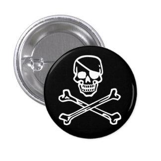 Skull (black) 3 cm round badge