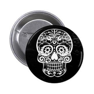 Skull,black and white 04 6 cm round badge
