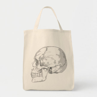 SKULL (BLACK AND WHITE DESIGN) Grocery Tote Grocery Tote Bag