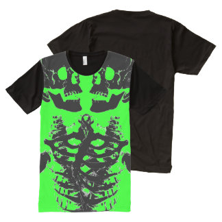 skull Black Neon Green American Apparel All-Over Print T-Shirt