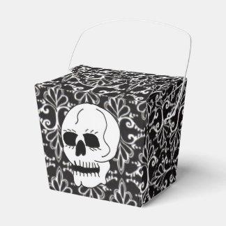Skull Black White Damask Scrolls Favour Box