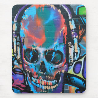 Skull, blue music Graffiti street art, urban goth Mouse Pads