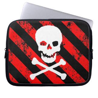skull bones cracked Stripes Punk / Anarchist Computer Sleeves