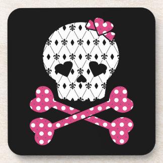Skull & Bones Fleur-de-lis Pink Polka Dot Coaster
