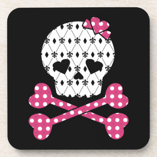 Skull & Bones Fleur-de-lis Pink Polka Dot Drink Coaster