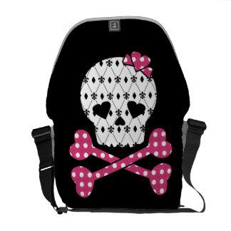 Skull & Bones Fleur-de-lis Pink Polka Dot Courier Bag