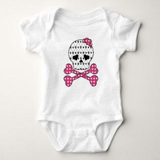 Skull & Bones Fleur-de-lis Pink Polka Dot T-shirts