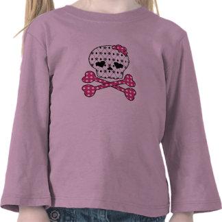 Skull & Bones Fleur-de-lis Pink Polka Dot T-shirt
