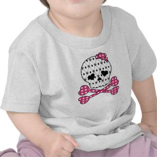 Skull & Bones Fleur-de-lis Pink Polka Dot Tee Shirts
