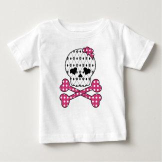 Skull & Bones Fleur-de-lis Pink Polka Dot Tshirt