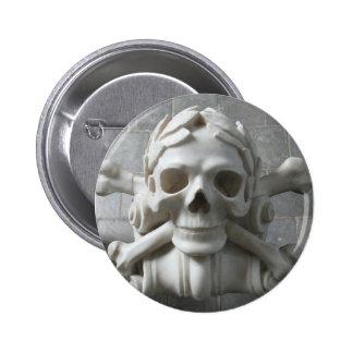 Skull Bones Pirate Skeleton Grey Stone Floor Badge
