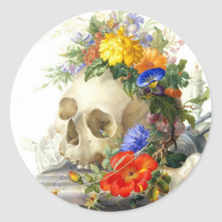 Skull Bouquet Classic Round Sticker