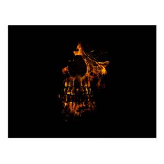 Skull Burning Digital Collage Illustration Postcard
