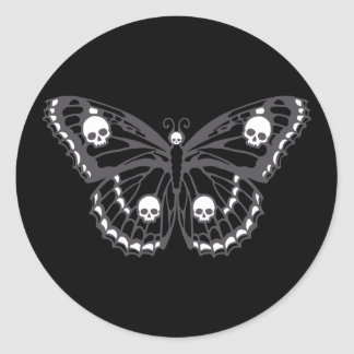 Skull Butterfly Classic Round Sticker