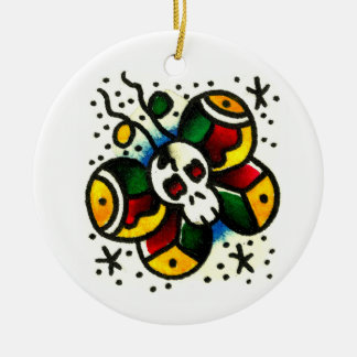 Skull Butterfly Watercolor Round Ceramic Decoration