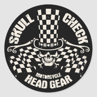 Skull Check Head Gear Classic Round Sticker