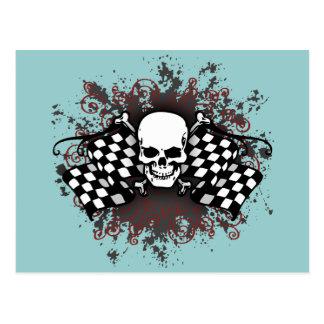Skull-checkered flags-splat postcard