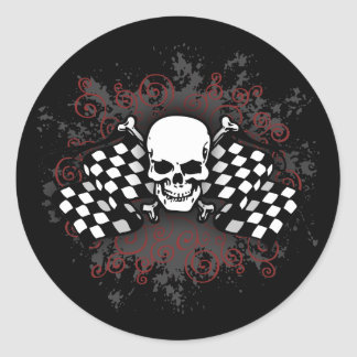 Skull-checkered flags-splat stickers