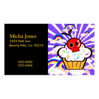 Skull Cherry Cupcake Rainbow Sky Business Cards