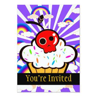 "Skull Cherry Cupcake Rainbow Sky 5"" X 7"" Invitation Card"