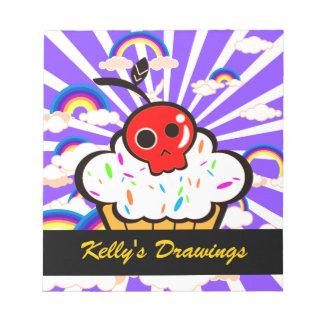 Skull Cherry Cupcake Rainbow Sky Notepad