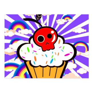 Skull Cherry Cupcake Rainbow Sky Postcard