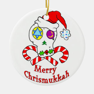 Skull Chrismukkah Double-Sided Ceramic Round Christmas Ornament