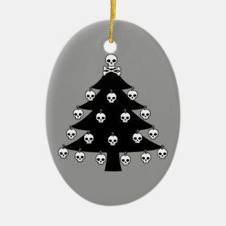 Skull Christmas Tree Ceramic Oval Decoration