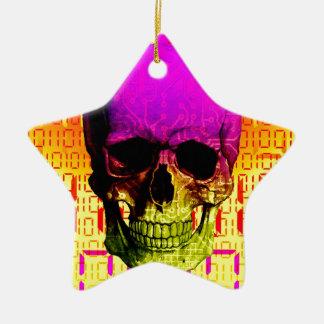 Skull circuit in a digital code. christmas ornament