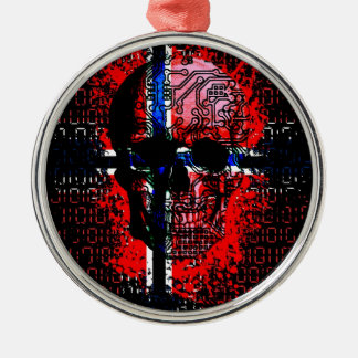 Skull circuit (norway-flag) christmas ornament