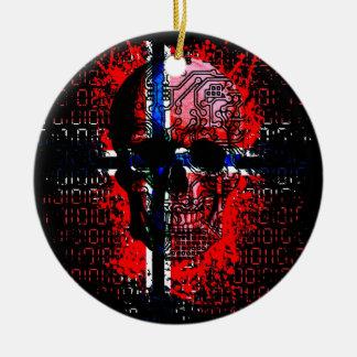 Skull circuit (norway-flag) round ceramic decoration