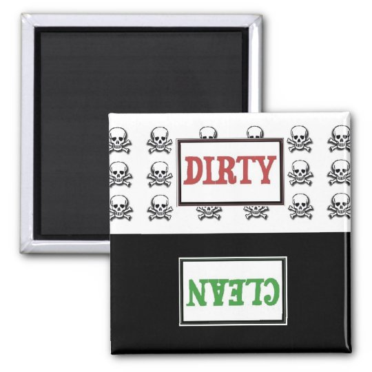 Skull clean dirty dishwasher magnet