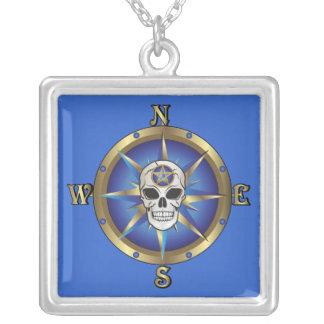 Skull Compass Square Pendant Necklace
