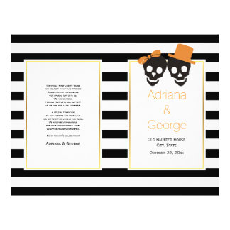 Skull couple and stripes Halloween wedding program Flyer