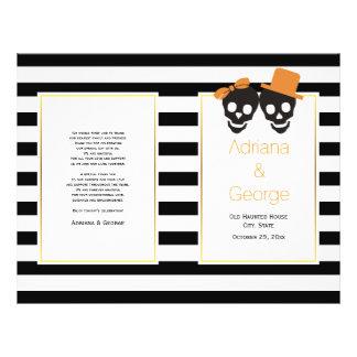 Skull couple and stripes Halloween wedding program Flyer