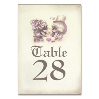 Skull Couple Day of Dead Wedding Table Numbers Table Cards