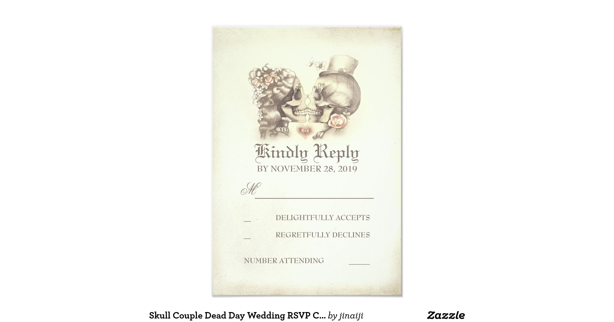 Skull couple dead day wedding rsvp cards 9 cm x 13 cm for Wedding invitations and rsvp cards all in one uk
