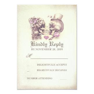 Skull Couple Dead Day Wedding RSVP Cards