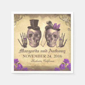 Skull couple Gothic wedding paper napkins Disposable Napkin