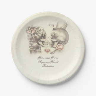 Skull Couple Gothic Wedding Paper Plate