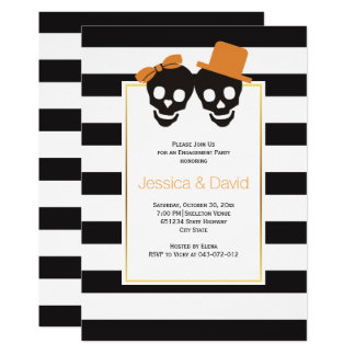 Skull couple Halloween wedding engagement party Card