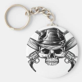 Skull Cowboy and Guns Basic Round Button Key Ring