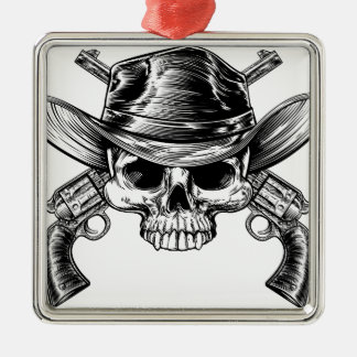 Skull Cowboy and Guns Silver-Colored Square Decoration