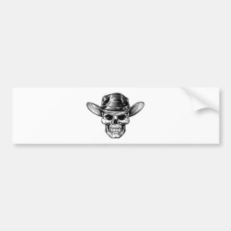 Skull Cowboy Hat Drawing Bumper Sticker