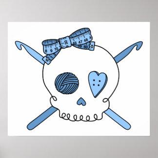 Skull & Crochet Hooks (Baby Blue) Posters