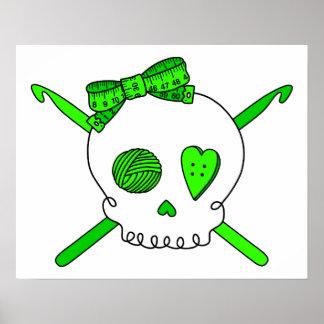 Skull & Crochet Hooks (Lime Green) Posters